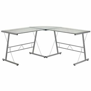 Inmir Glass L shaped Glass Computer Desk With Metal Frame