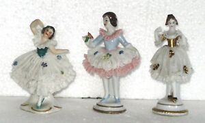 3 Antique Porcelain Ballerina Lace Figurines Dresden Blue Mark Germany