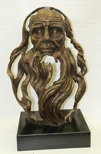 26 Tall Massive Desk Top Mantle Old Man Bust Bronze Sculpture Marble Base Gift