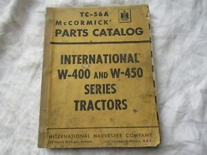 Farmall International W 400 W 450 Tractor Parts Catalog Book Manual
