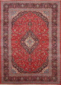 Hand Knotted 10x14 Red Traditional Floral Kashaan Persian Oriental Area Rug Wool