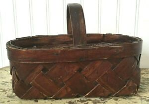 Early Antique Sweet Small Gathering Basket In Original Reddish Brown Paint