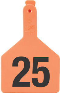 Z Tags Cow Ear Tags Orange Numbered 1 25