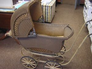 Cartoy Antique Vintage Wicker Baby Carriage Stroller