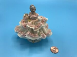 Germany Porcelain Antique Dresden China Lace Figurine Lady With Fan