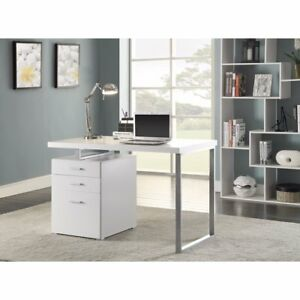 Superb White Office Desk With Reversible Set up
