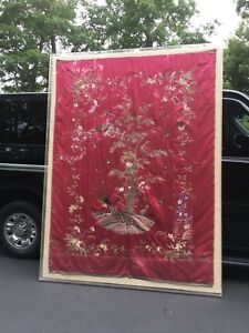 Old Antique Handmade Chinese Silk Embroidery Tapestry Birds Flowers Framed
