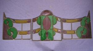Set Of 3 Antique Art Deco Era Stained Leaded Glass Panels With Bronze Frames