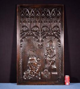 Large French Antique Gothic Revival Panel Plaque In Solid Oak Wood W Jesus Mary