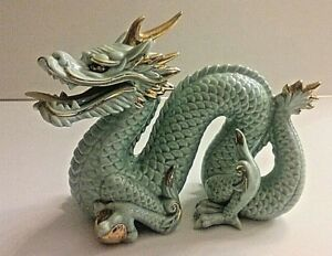 Oriental Chinese Porcelain Ceramic Dragon Statue Figurine Home Decor