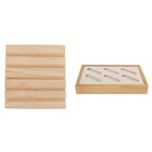 2pcs Wood Multi use Earring Ring Jewelry Display Tray Organizer Holder
