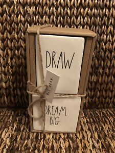 New Rae Dunn Artisan 2 Pc Set Draw Dream Big Pen Pencil Holder Desk Organizer