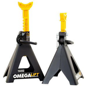 Omega Lift 32068 6 Ton Capacity Double Locking Pin Steel Jack Stands 1 Pair