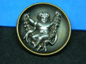Special Antique Vtg Brass Cup Button W Pewter Cherub In A Vine Swing Nice Tint