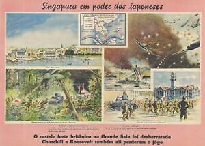1942 Pictorial Propaganda Broadside Of The Japanese Invasion Of Singapore