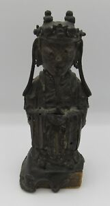 Antique Estate Chinese Bronze Court Figure Statue 6 75 Ming Dynasty