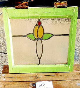 17 X17 Old Vtg Art Nouveau Leaded Antique Stained Glass Window Yellow Red Green