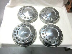 Vintage Set Of Four 4 Dish Hubcaps Chevy Ford Jeep Oldsmobile