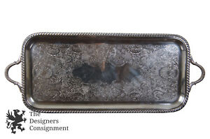 Sheffield Silver Co Rectangular Service Tray Ornate Handle Waiter Bar Platter