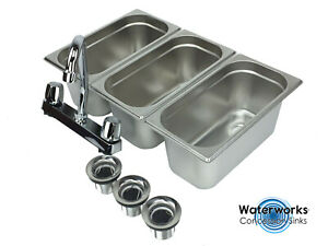 Concession Sink 3 Compartment Portable Stand Food Truck Trailer 3 Small W faucet