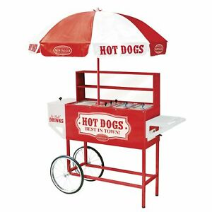Nostalgia 48 inch Hot Dog Vending Cart With Umbrella