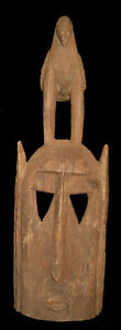 180117 Large Old Tribal Used African Dogon Mask With Bird Mali