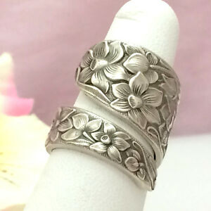 Sterling Silver Narcissus Spoon Ring Rare Silverware Jewelry Vintage 1935