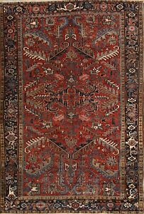 Antique All Over Pattern Geometric Red 7x10 Heriz Persian Oriental Area Rug Wool