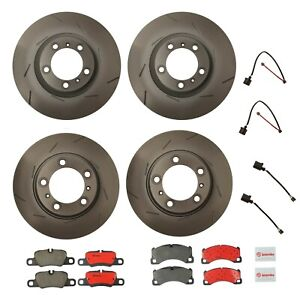 For Porsche Panamera Front And Rear Disc Brake Rotors Pads And Sensors Kit