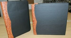 2 Pc Black Cowhide Leather Portfolio 3 Ring Binder Chestnut Tan Western Trim