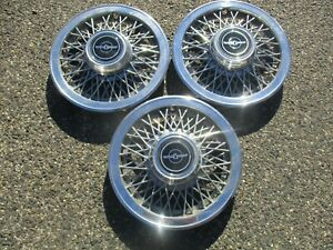 Lot Of 3 1983 To 1988 Ford Thunderbird 14 Inch Wire Spoke Hubcaps Wheel Covers