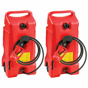 Scepter Flo N Go Duramax 14 Gallon Portable Gas Fuel Tank With Pump 2 Pack