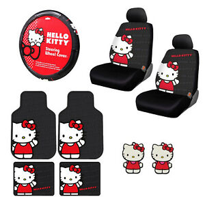 11pc Sanrio Hello Kitty Core Car Floor Mats Steering Wheel Cover Seat Covers Set