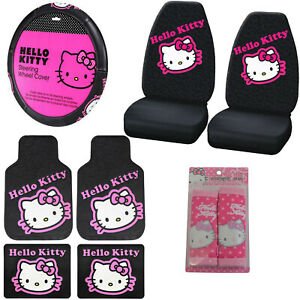 Full Set Sanrio Hello Kitty Pink Car Floor Mats Steering Wheel Cover Seat Covers