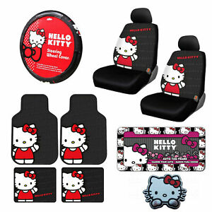 11pc Sanrio Hello Kitty Core Car Floor Mats Steering Wheel Cover Seat Covers