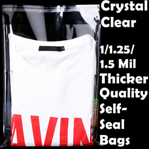 12x15 Clear Resealable Self Adhesive Seal Cello Lip Tape Plastic Bags T Shirt