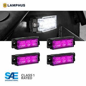 4pc 3w Led Emergency Vehicle Strobe Grille Light Head Police Firefighter Purple
