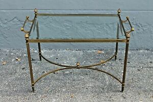 Mid Century Modern Luxe Brass And Glass Coffee Tray Table Maison Jansen Style