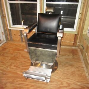 1960 Theo A Kochs Mark I Barber S Chair Black Green Tattoo Barber Shop Salon
