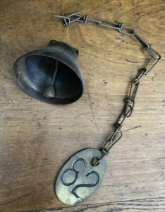 Vintage Lucky No 82 Antique Brass Old Cow Tag 2 Sided With Chain Farm Rusty