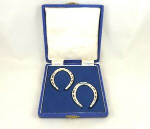 Sterling Silver Napkin Rings In Form Of Horseshoes Boxed Set Of 2 Equestrian