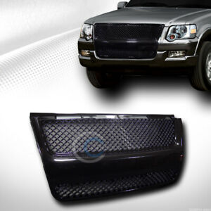 Fit 07 10 Ford Explorer Sport Trac Glossy Blk Mesh Front Bumper Grill Grille Abs