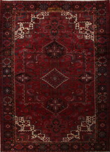 Overwhelming Geometric Large Signed Heriz Persian Oriental Red Area Rug 10x14