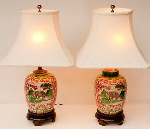 Pair Of Vintage Chinese Ceramic Ginger Jar Table Lamps Elephants