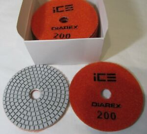 10 Diarex Ice 112714 Wet Diamond Stone Granite Polishing Pads discs 4 200 grit