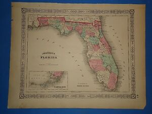 Vintage 1865 Florida Map Old Antique Original Johnson Atlas 20419