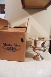Silver Plate On Copper Sheridan Wine Ice Bucket Champagne Cooler In Original Box