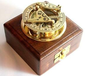 New West London Solid Brass Premium Sundial Pocket Compass With Wooden Box Q154