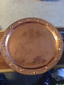 Estate Find Solid Hammered Copper Tray 24 Inches In Diameter
