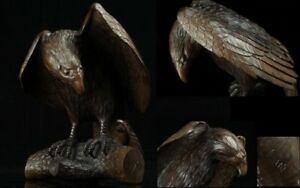 Jan150 Magnificent Japanese Hand Carved Wood Hawk Eagle Statue Figure Signed